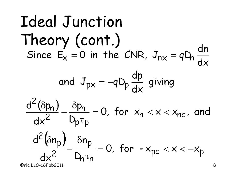 Ideal Junction Theory (cont.)