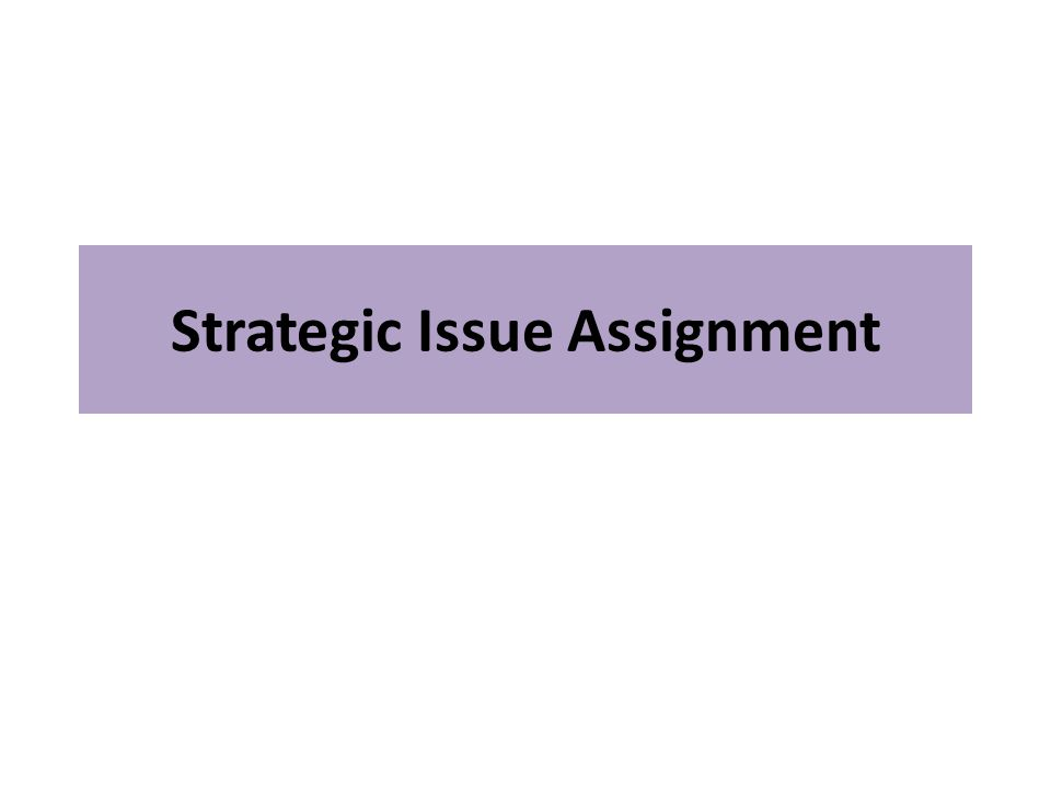 Strategic Issue Assignment