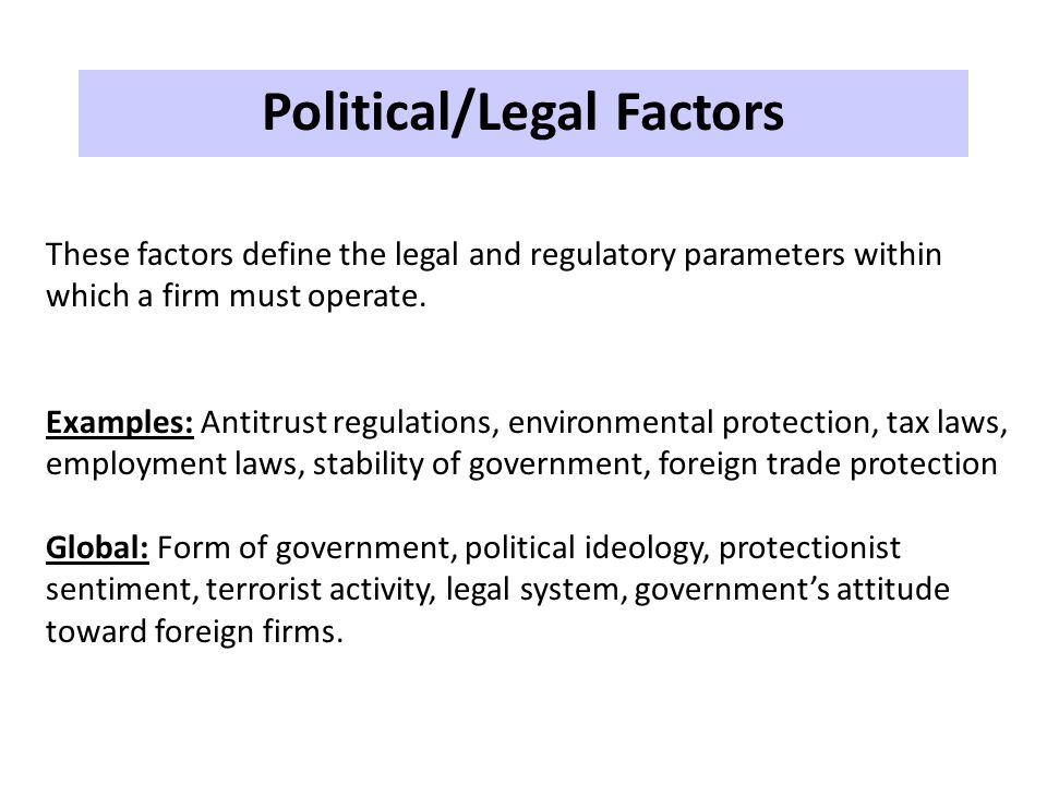 Political/Legal Factors
