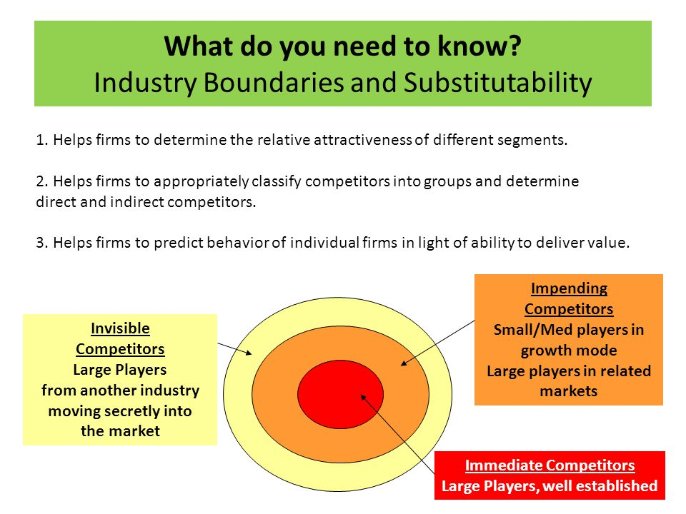 What do you need to know Industry Boundaries and Substitutability