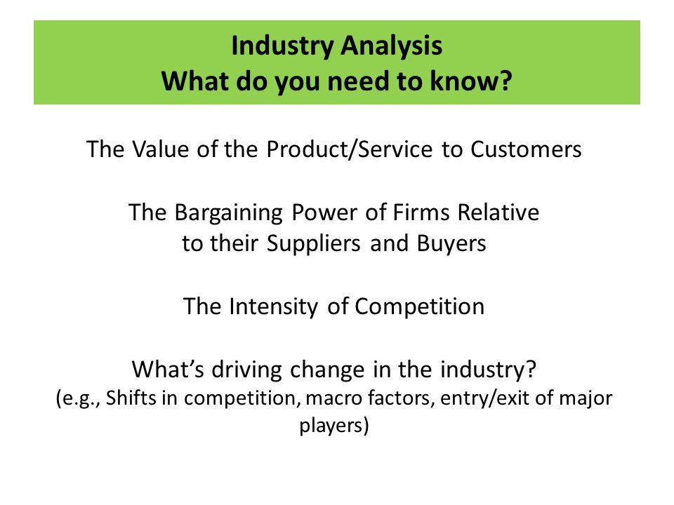 Industry Analysis What do you need to know
