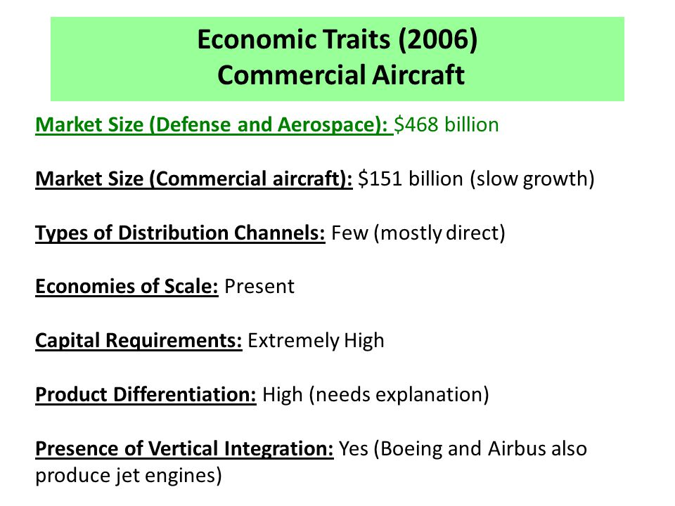 Economic Traits (2006) Commercial Aircraft