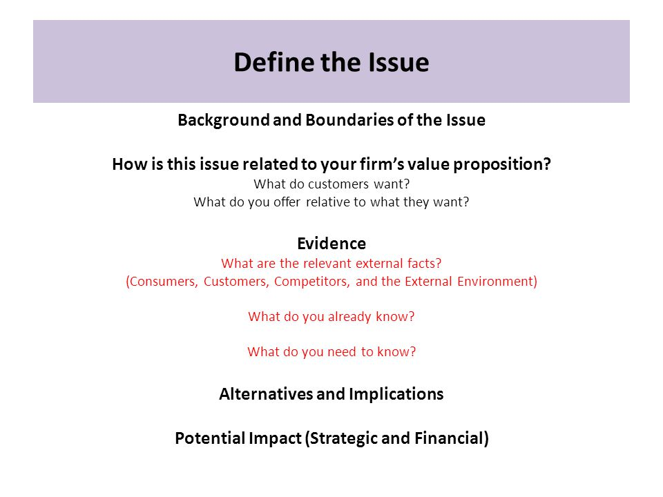 Define the Issue Background and Boundaries of the Issue