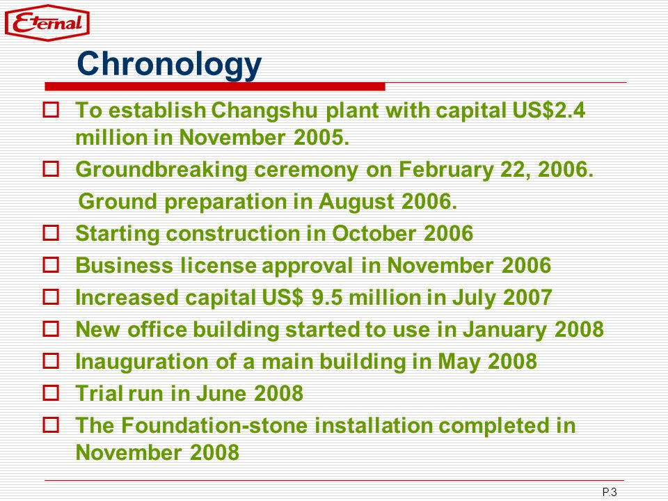 Chronology To establish Changshu plant with capital US$2.4 million in November 2005. Groundbreaking ceremony on February 22, 2006.