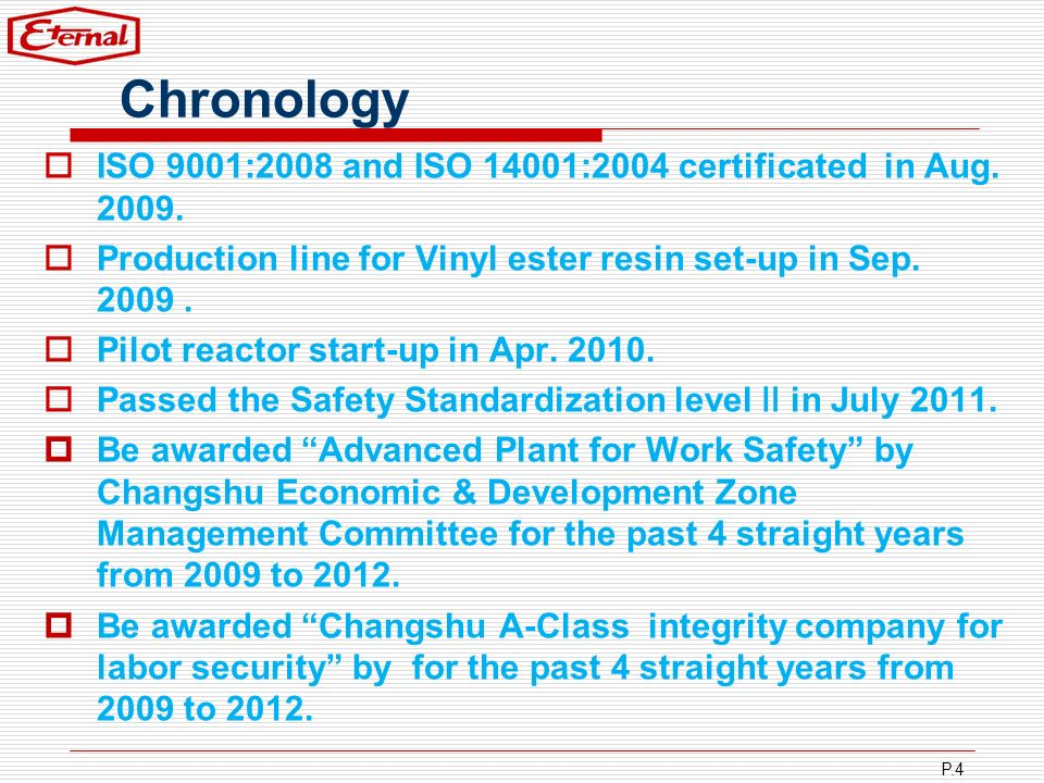 Chronology ISO 9001:2008 and ISO 14001:2004 certificated in Aug. 2009.
