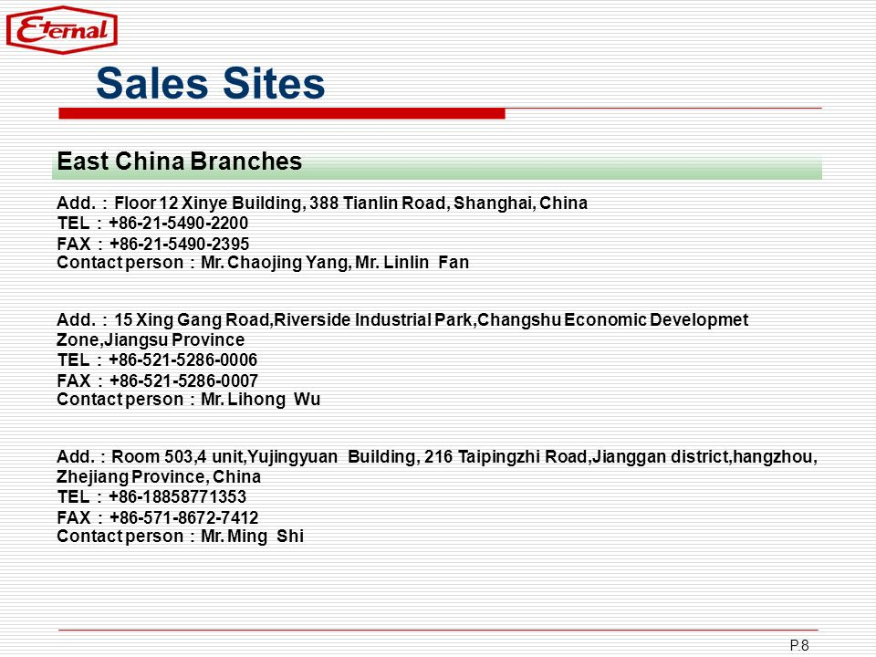 Sales Sites East China Branches