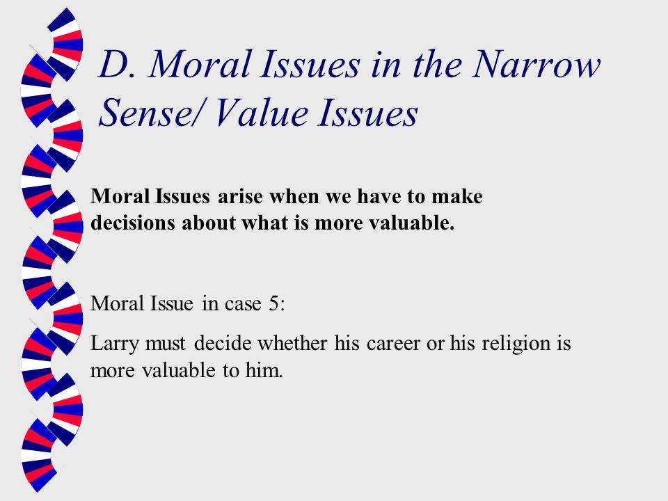 D. Moral Issues in the Narrow Sense/ Value Issues