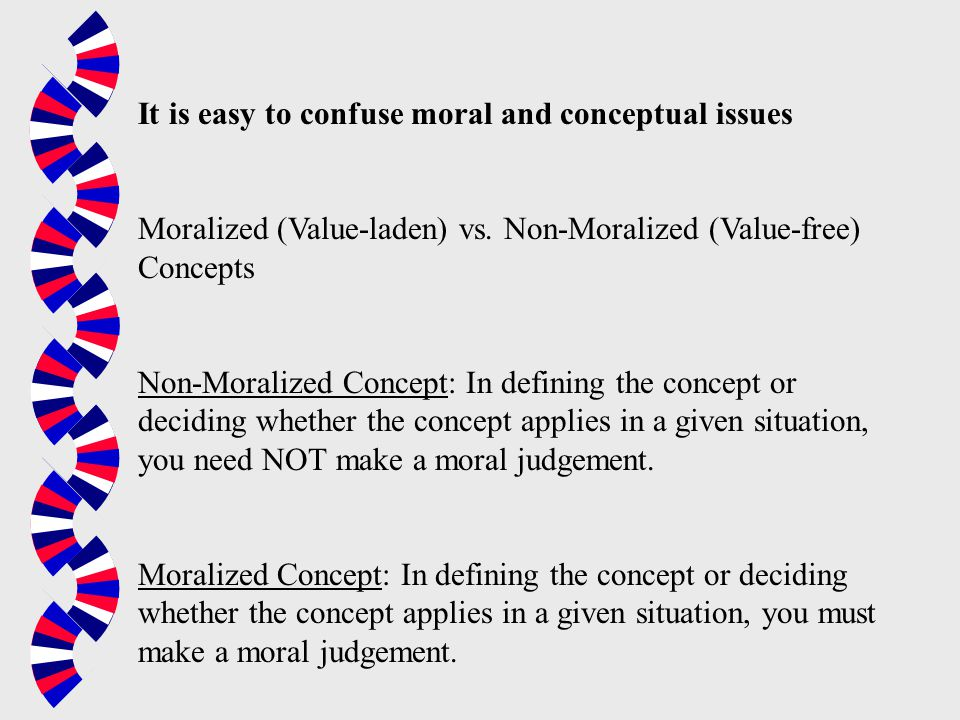 It is easy to confuse moral and conceptual issues