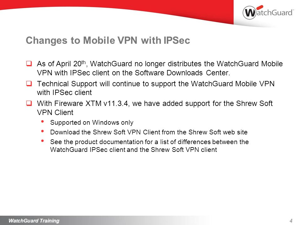 Changes to Mobile VPN with IPSec