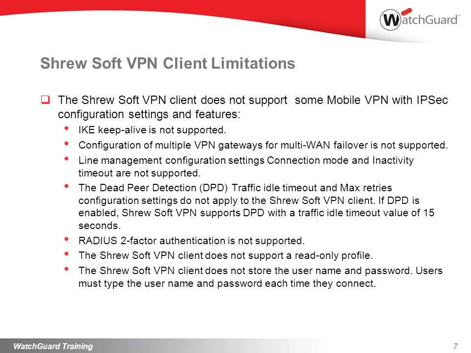 Shrew Soft VPN Client Limitations