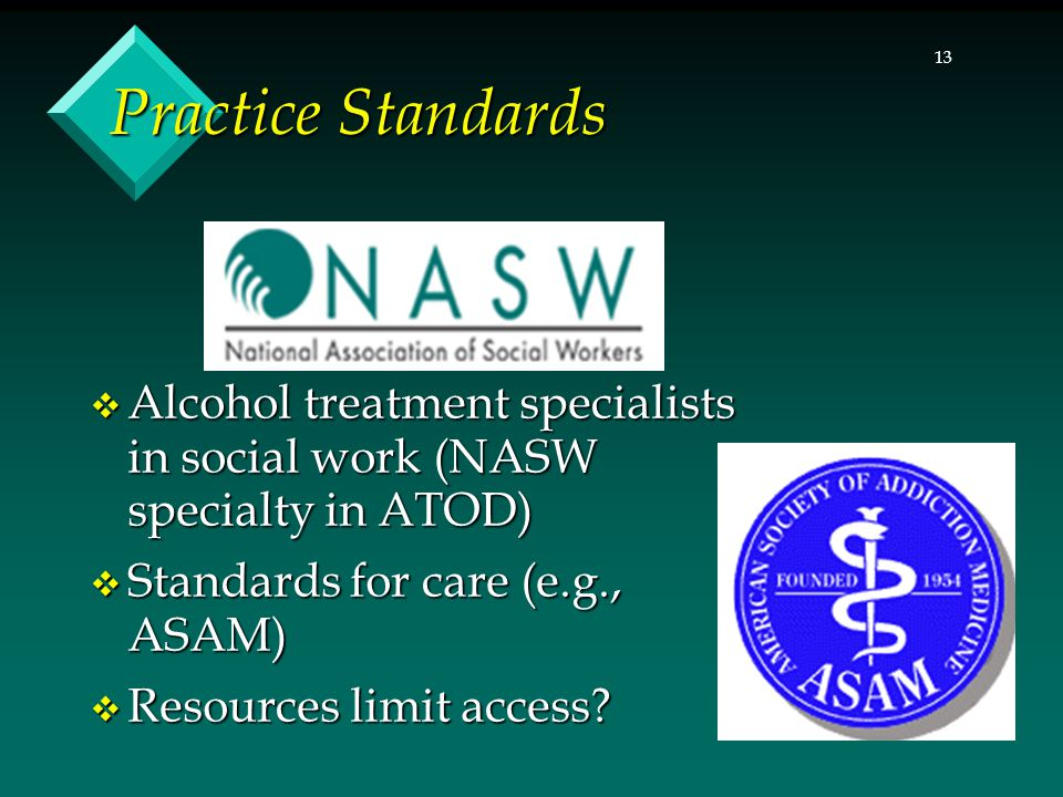 Practice Standards Alcohol treatment specialists in social work (NASW specialty in ATOD) Standards for care (e.g., ASAM)