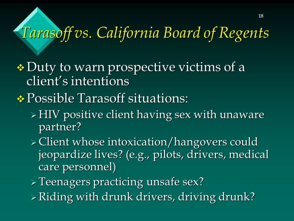 Tarasoff vs. California Board of Regents