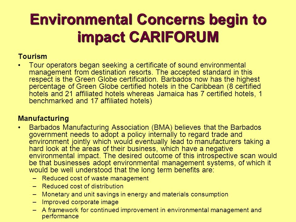 Environmental Concerns begin to impact CARIFORUM