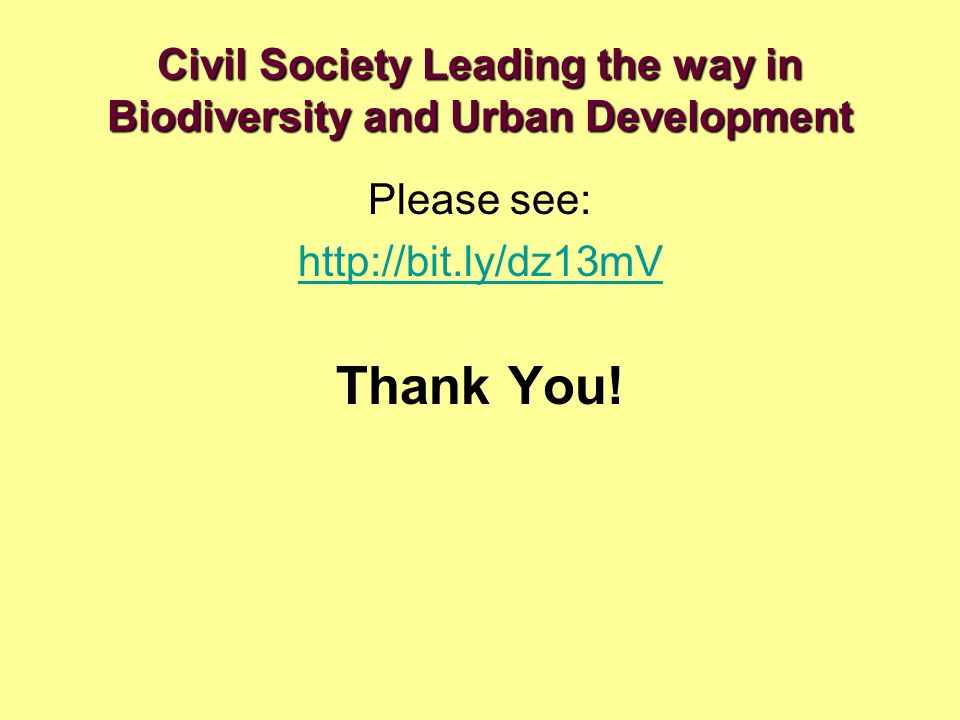 Civil Society Leading the way in Biodiversity and Urban Development