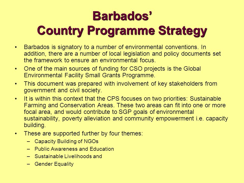 Barbados' Country Programme Strategy