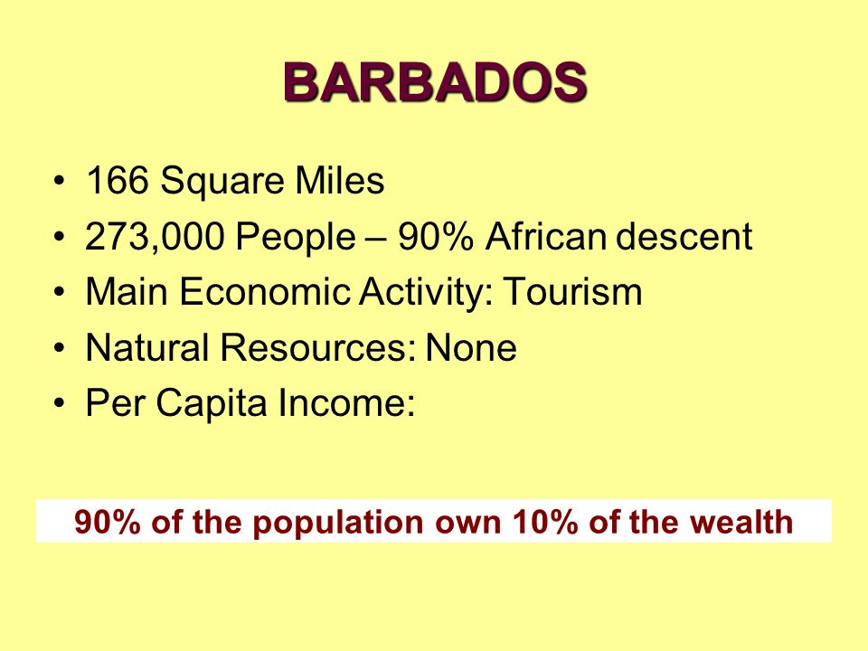 90% of the population own 10% of the wealth