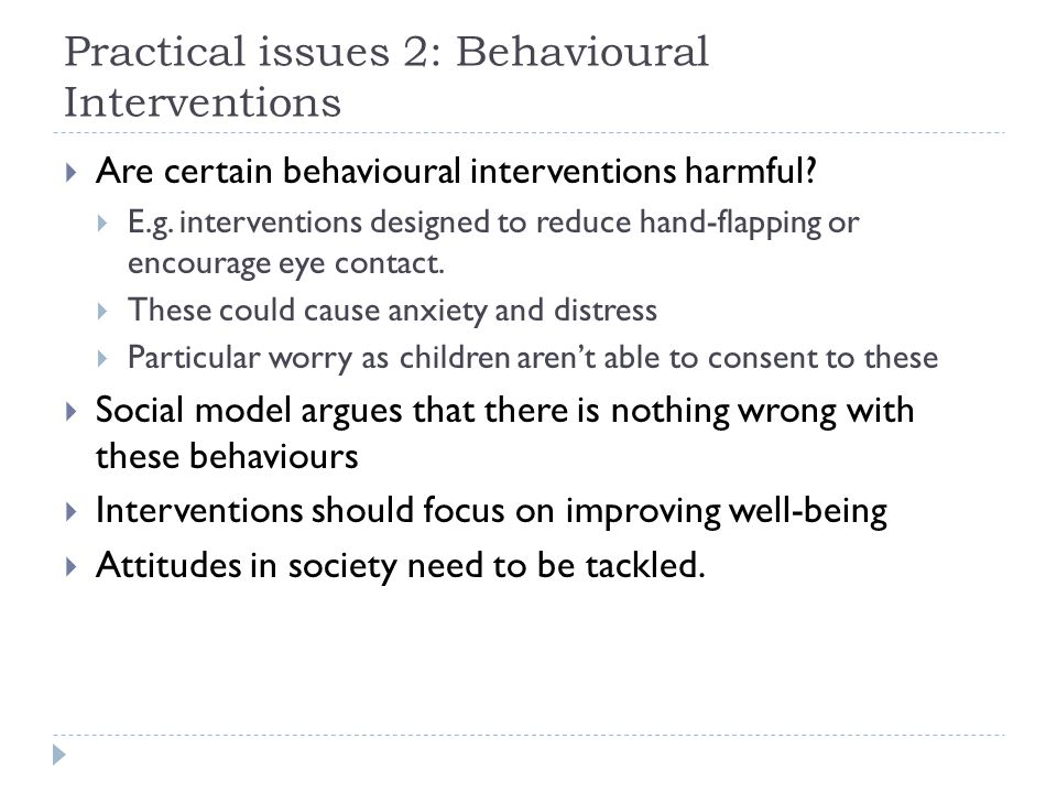 Practical issues 2: Behavioural Interventions