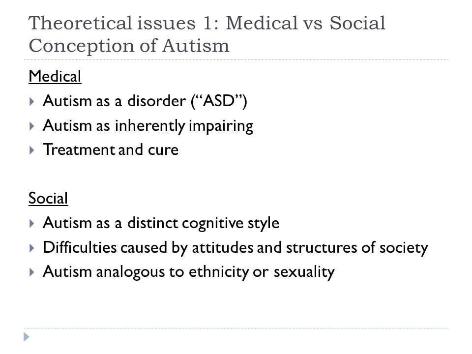 Theoretical issues 1: Medical vs Social Conception of Autism