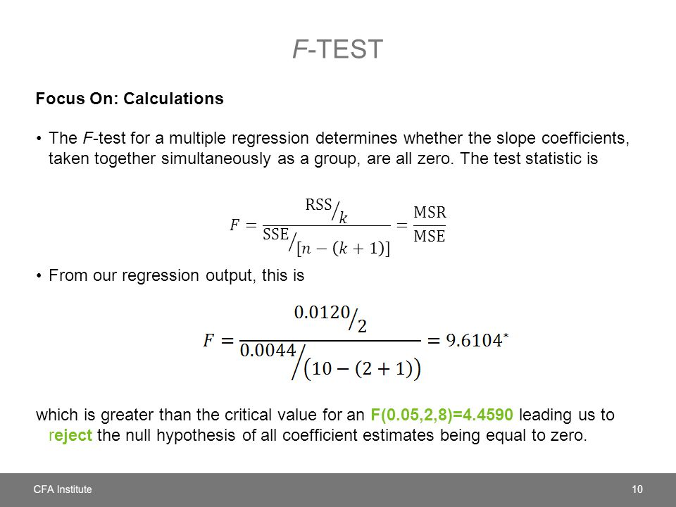 F-test Focus On: Calculations