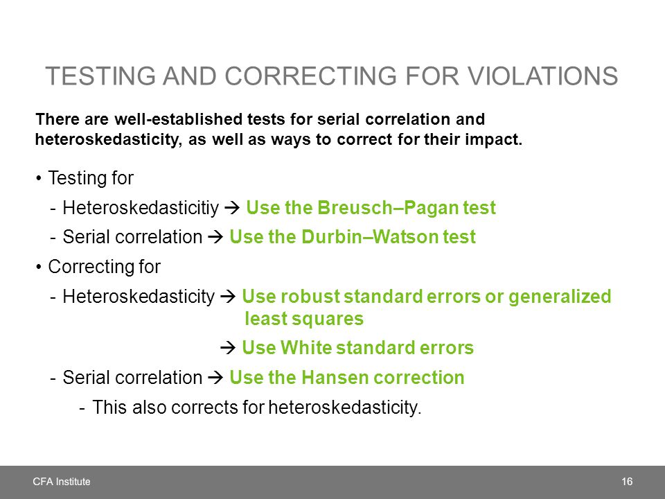 Testing and correcting for violations
