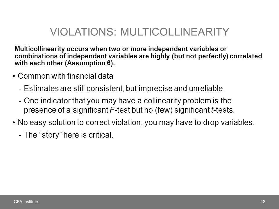 Violations: multicollinearity
