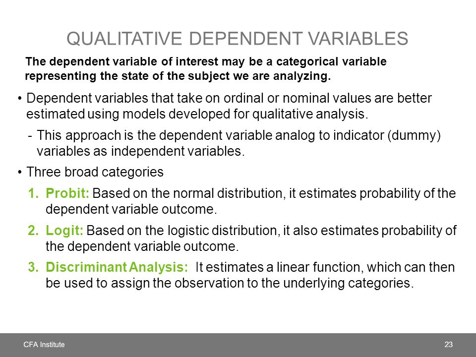 Qualitative dependent variables