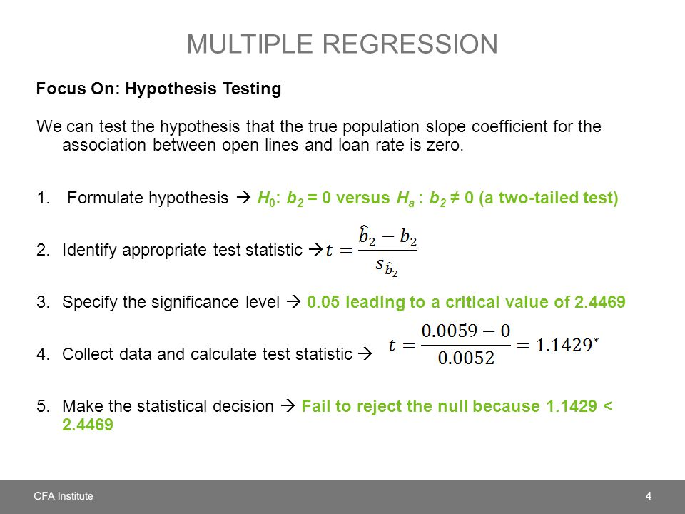 Multiple regression Focus On: Hypothesis Testing
