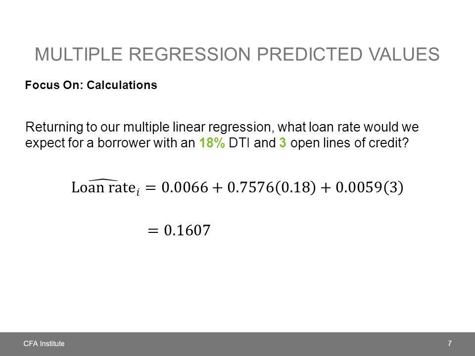 Multiple regression predicted values