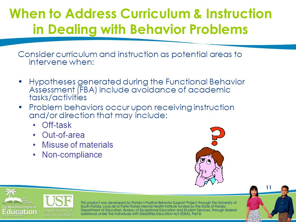 When to Address Curriculum & Instruction in Dealing with Behavior Problems