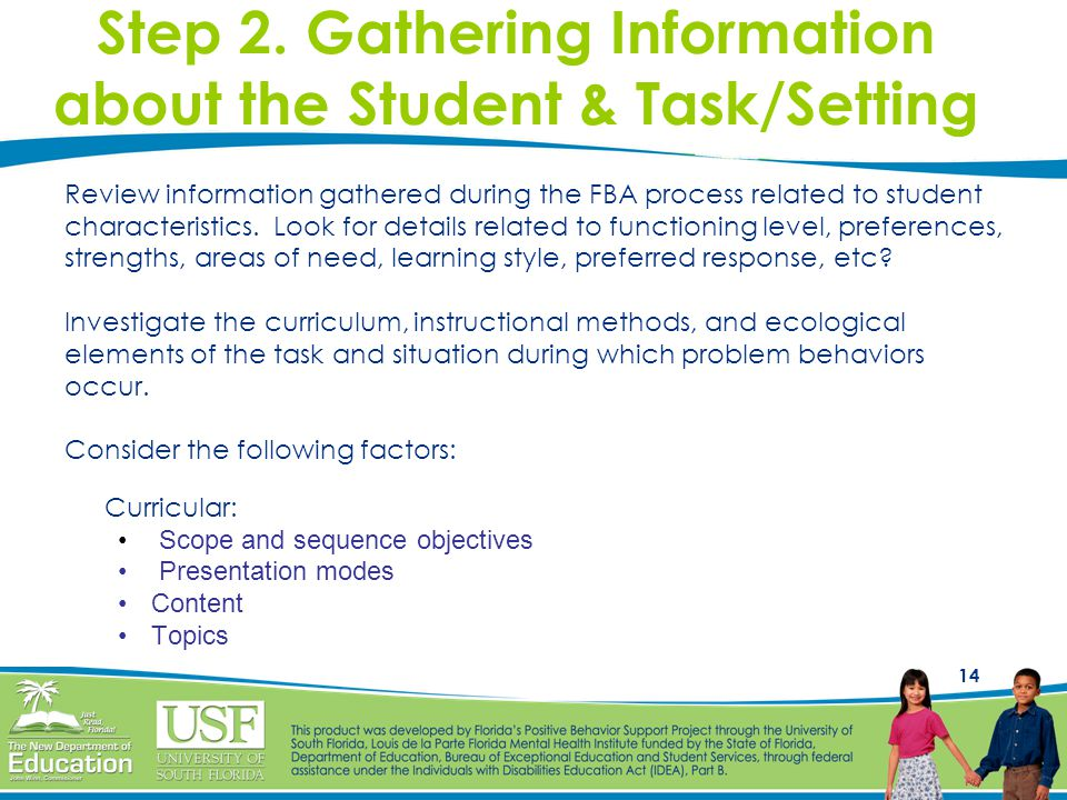 Step 2. Gathering Information about the Student & Task/Setting