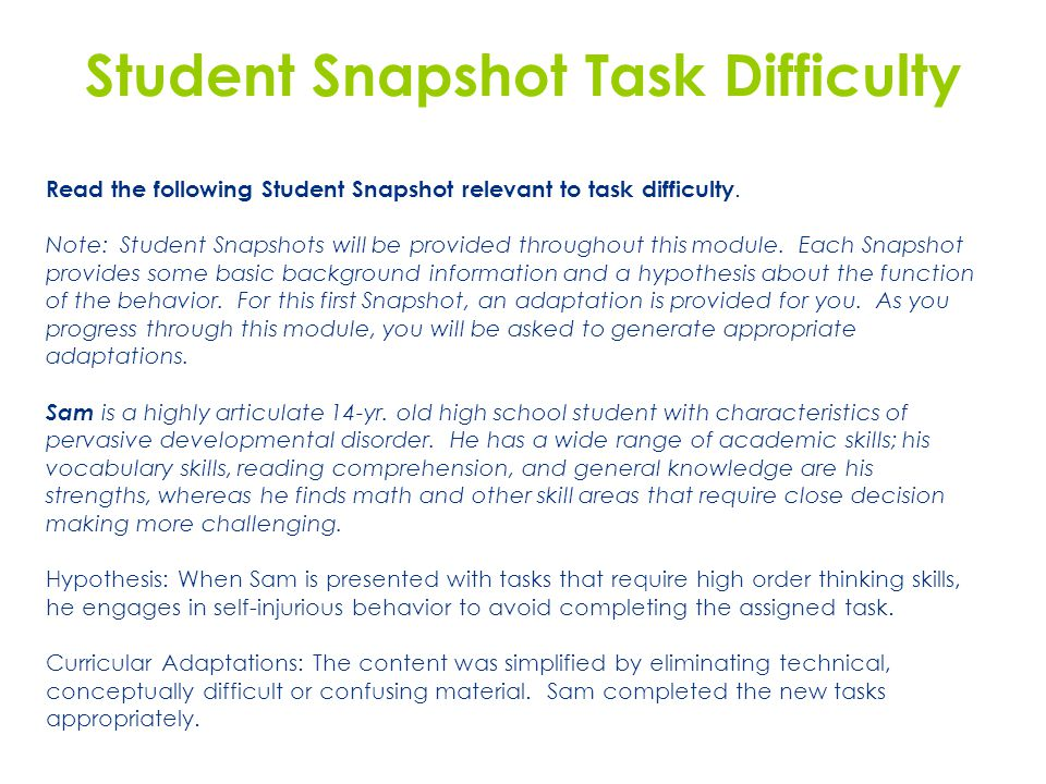 Student Snapshot Task Difficulty