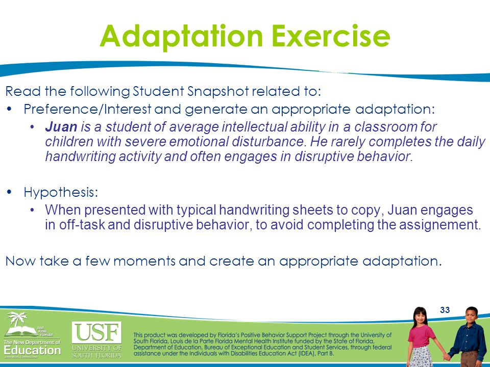 Adaptation Exercise Read the following Student Snapshot related to: