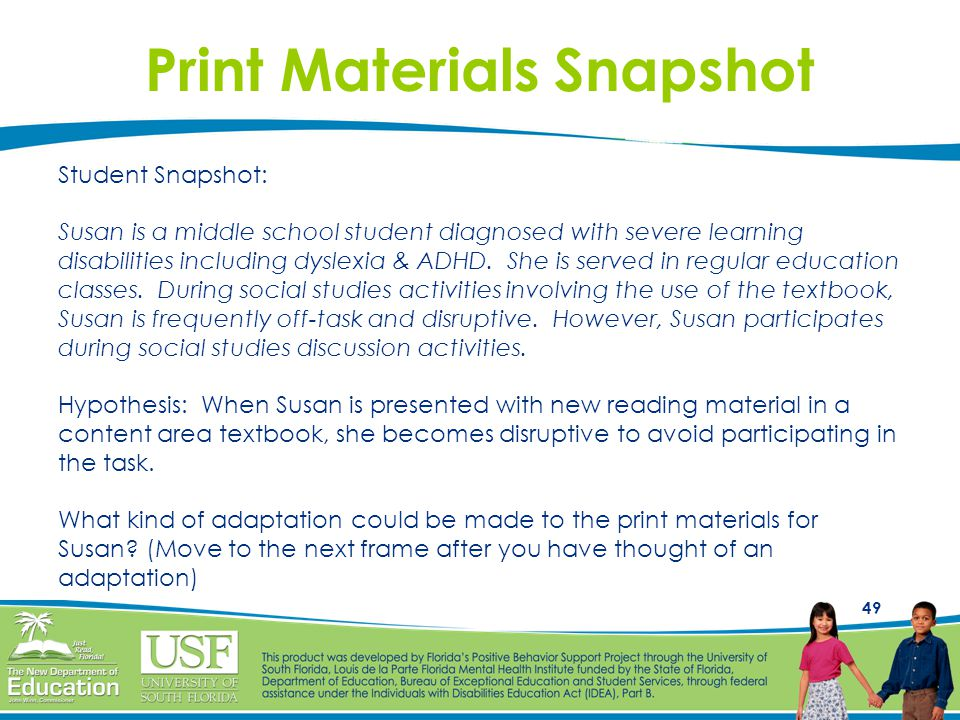 Print Materials Snapshot