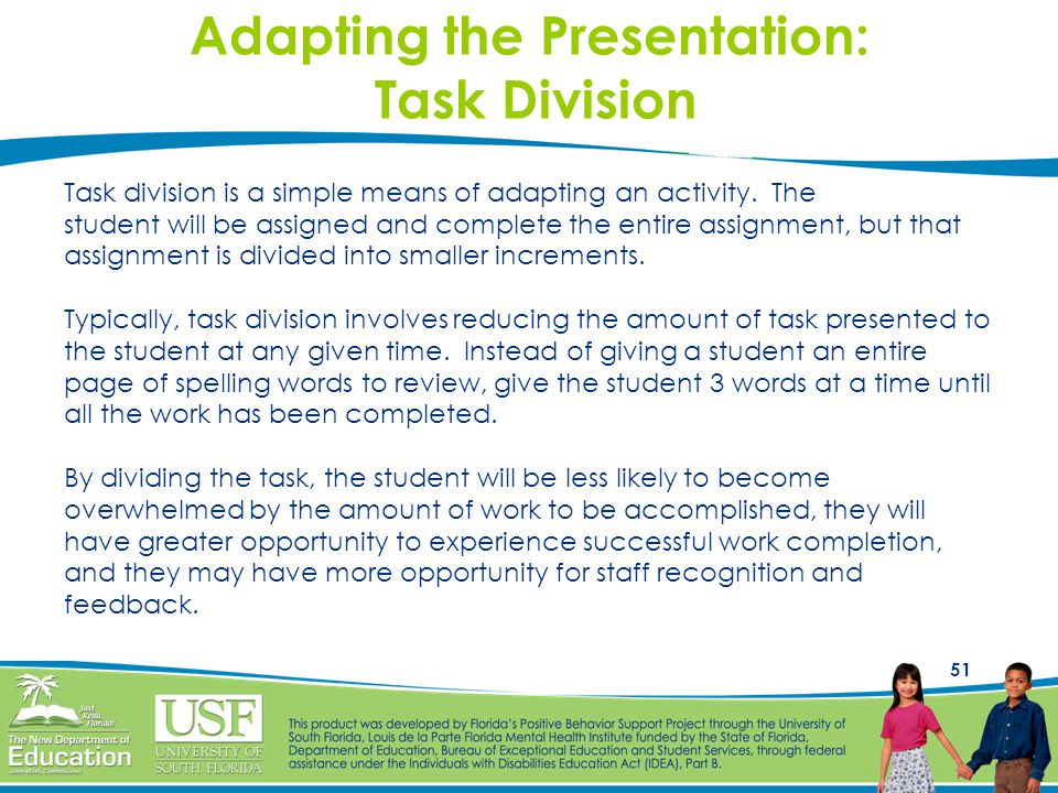 Adapting the Presentation: Task Division