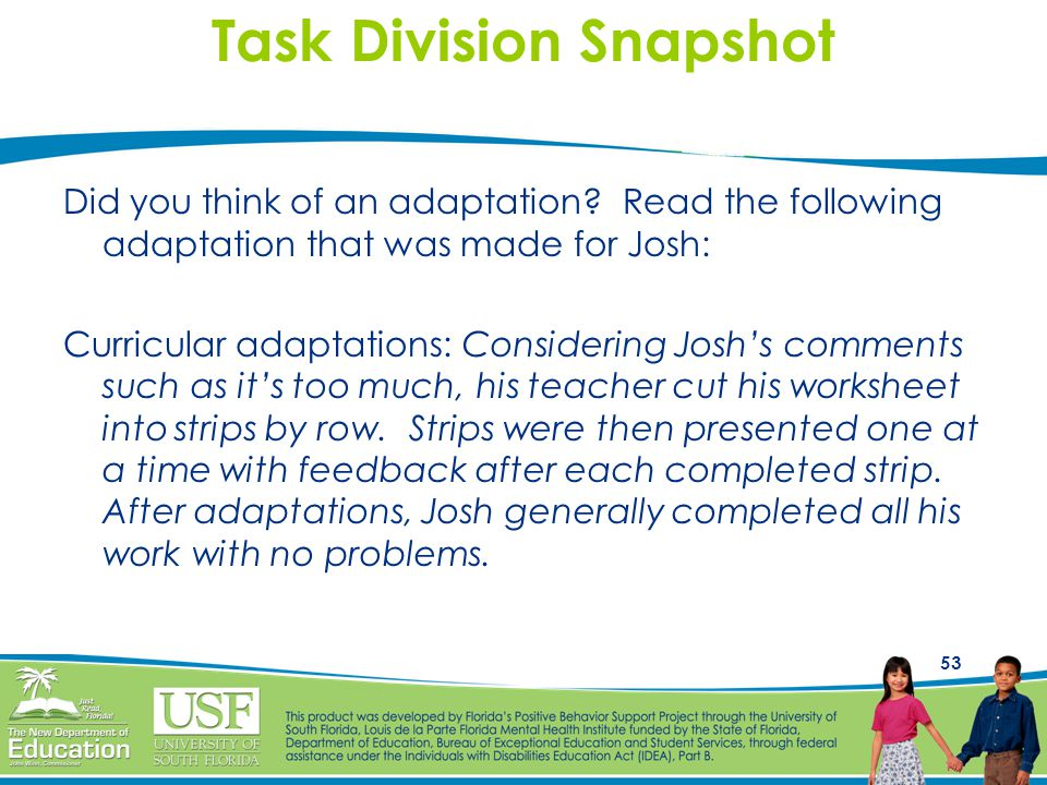 Task Division Snapshot