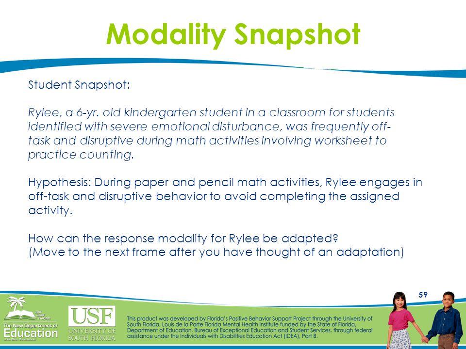 Modality Snapshot Student Snapshot: