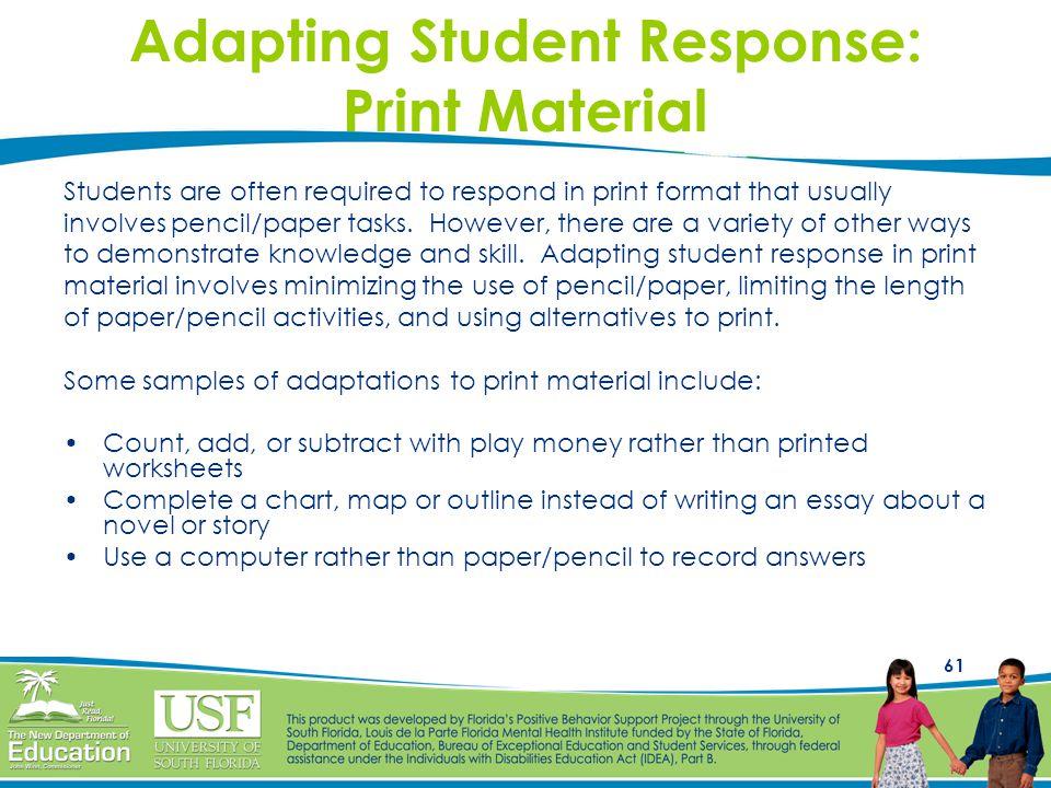Adapting Student Response: Print Material