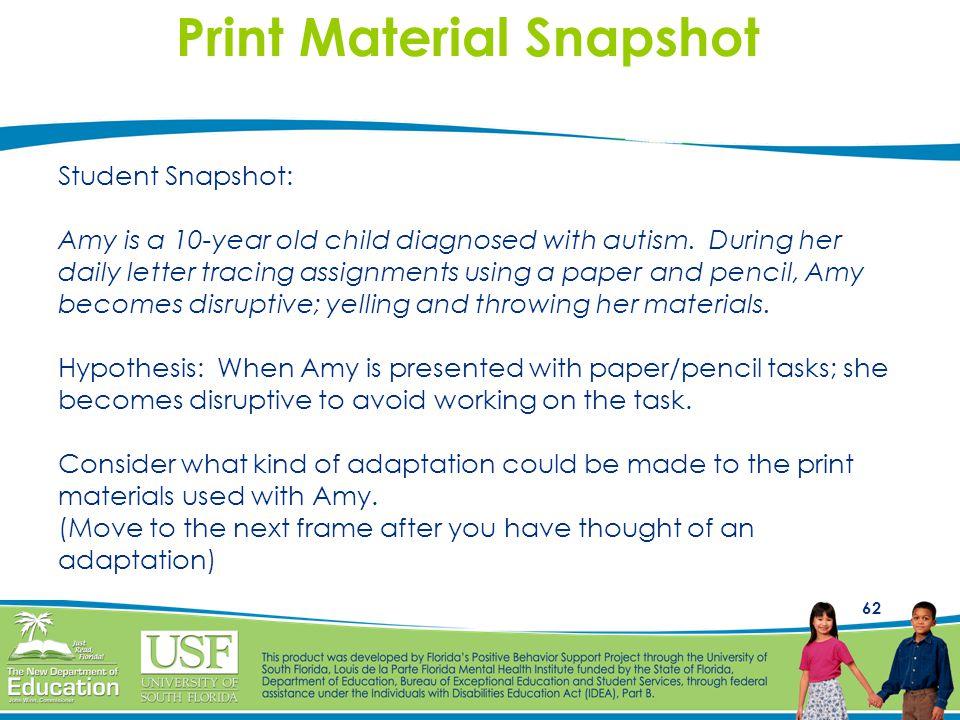 Print Material Snapshot