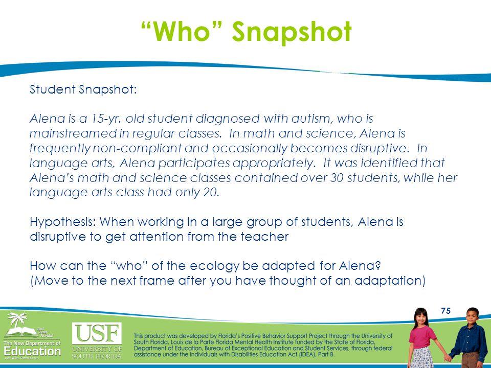 Who Snapshot Student Snapshot: