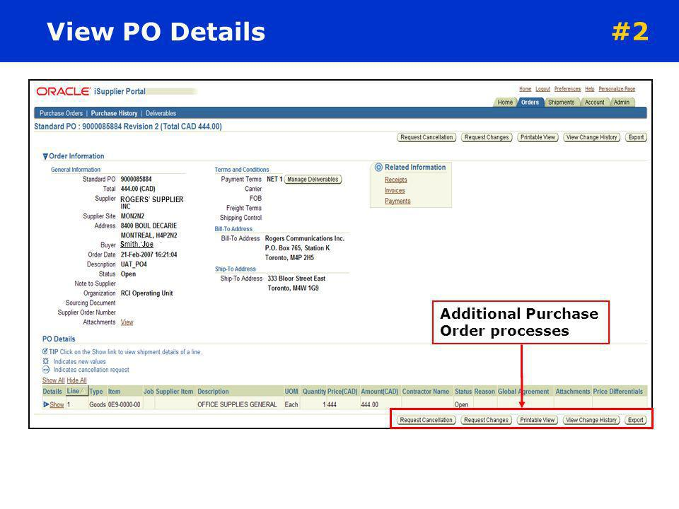 View PO Details #2 Additional Purchase Order processes
