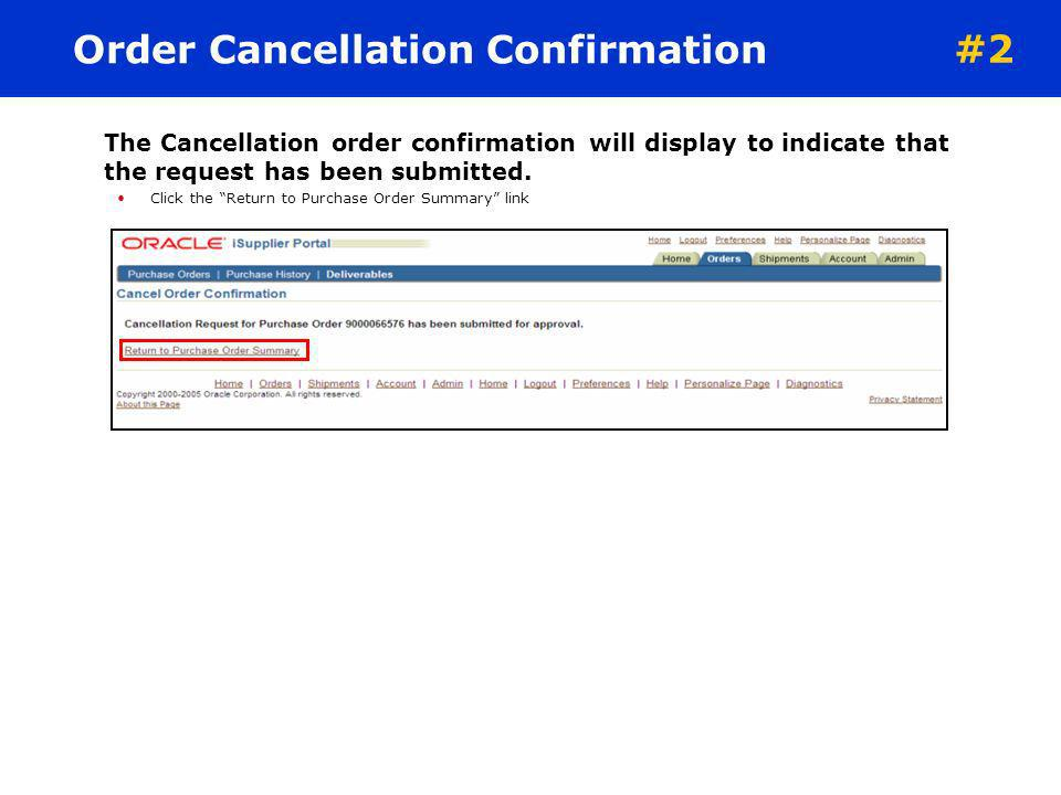 Order Cancellation Confirmation