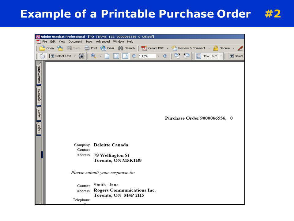 Example of a Printable Purchase Order