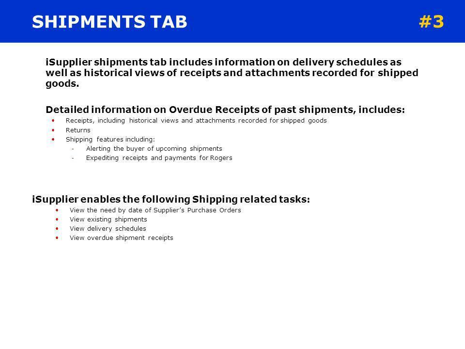 SHIPMENTS TAB #3.
