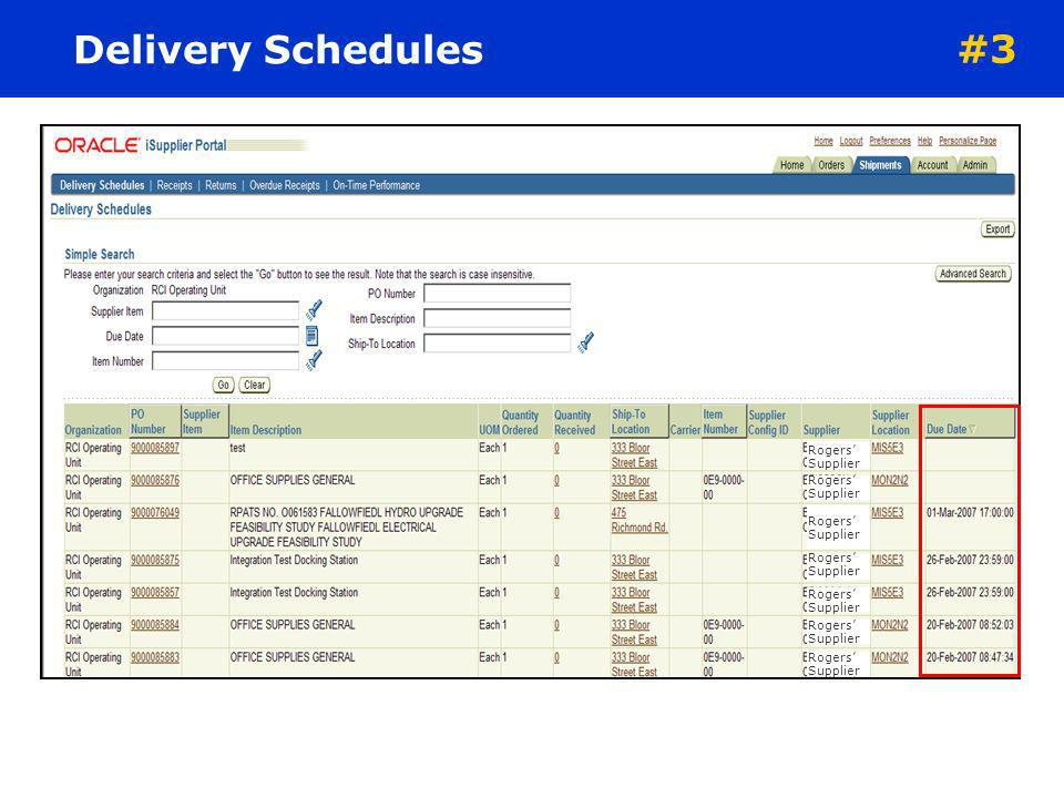 Delivery Schedules #3. Rogers' Supplier. Rogers' Supplier.