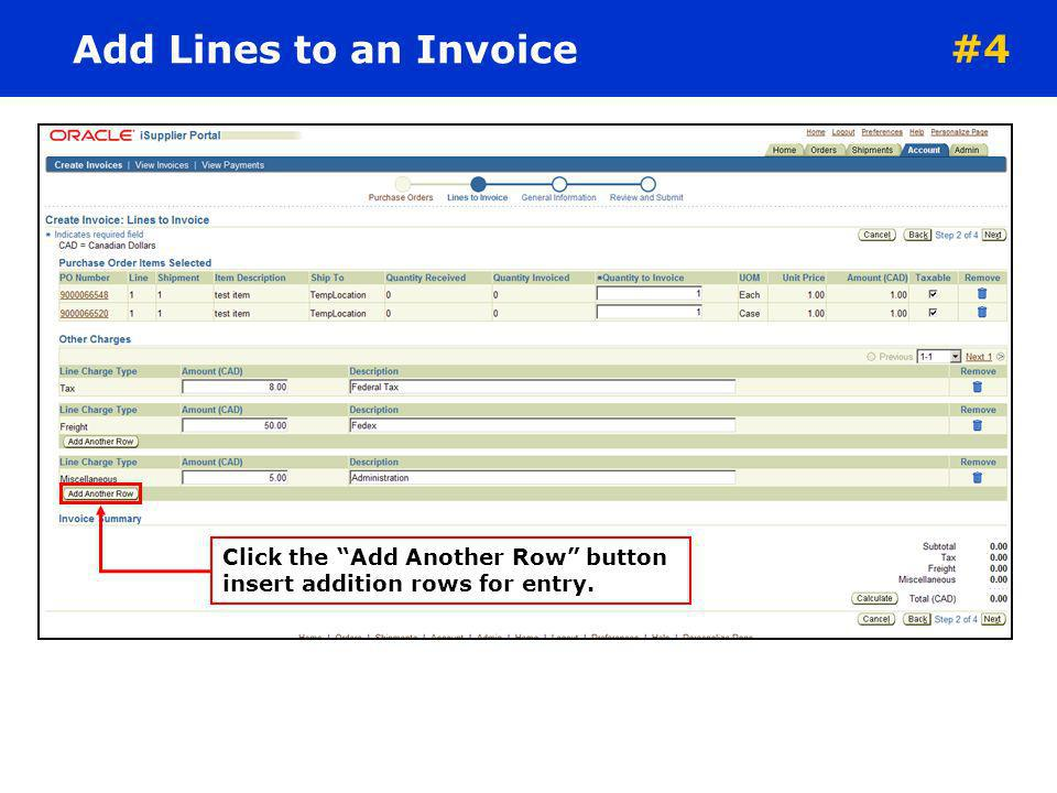 Add Lines to an Invoice #4