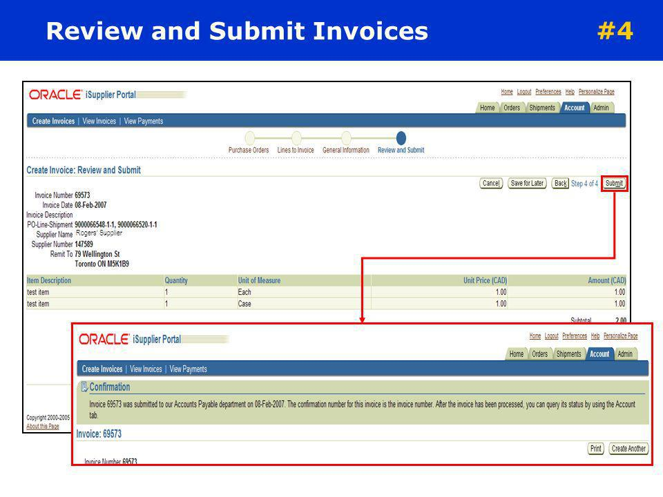 Review and Submit Invoices