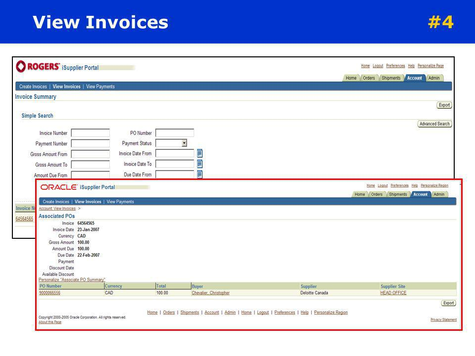 View Invoices #4. The Invoice Summary Results screen displays the history of all invoices by the supplier to Rogers. Search criteria includes: