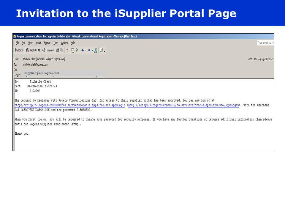 Invitation to the iSupplier Portal Page
