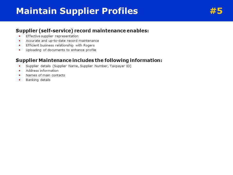 Maintain Supplier Profiles