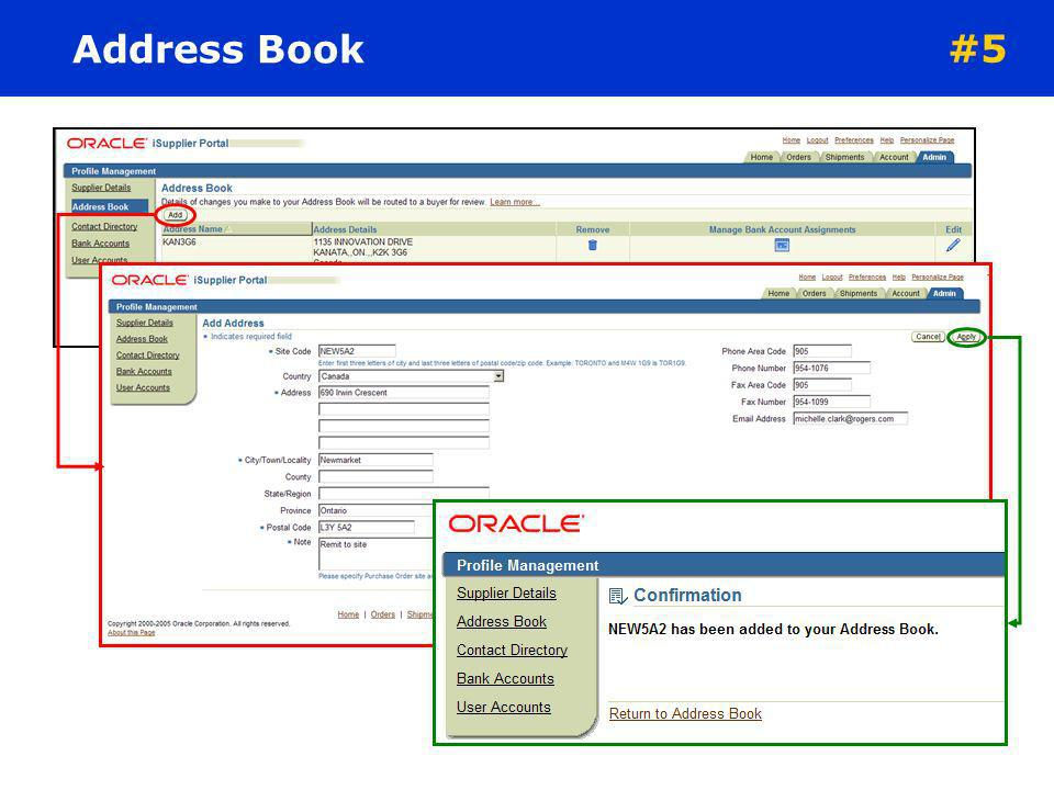 Address Book #5 To add a new address complete the following: